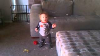 Cute Baby Boy Reacting to Bubbles