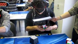 Solving a Rubiks Cube While Blindfolded World Record