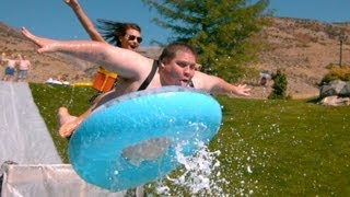 Slip n Slide Down a Hill with Slow Motion