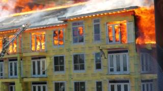 Man Escapes Burning Building- Fire Truck Ladder Leap